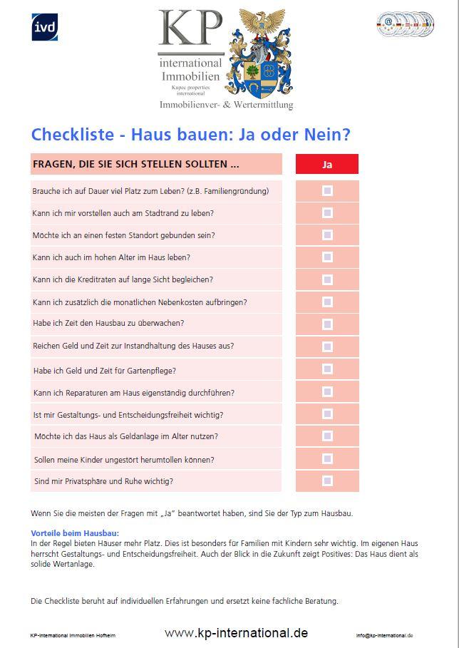 Checkliste - Haus bauen: Ja oder Nein?